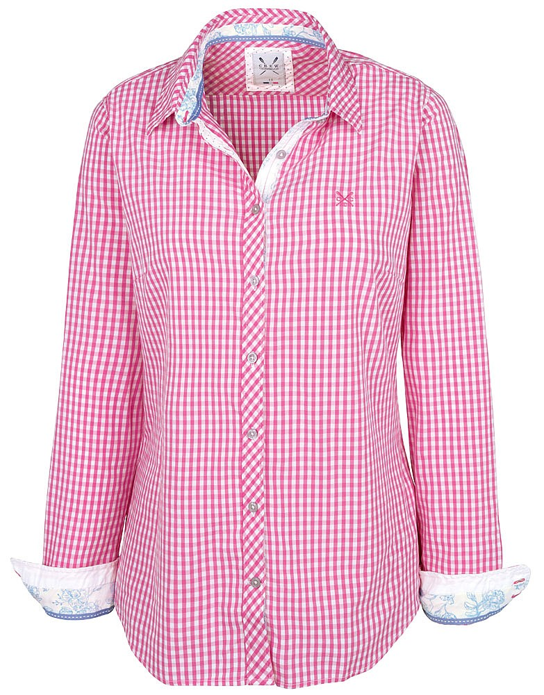 women 39 s annie shirt in pink gingham from crew clothing