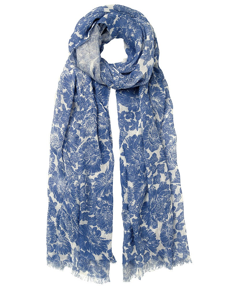 s peony bloom scarf in white linen denim from crew