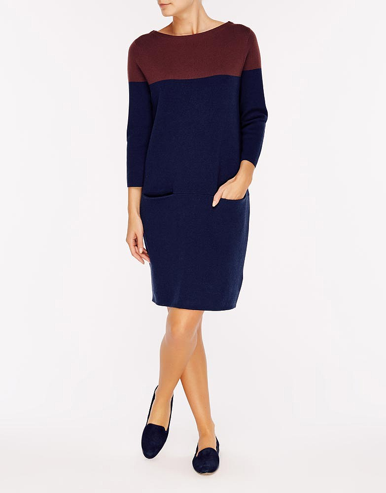 Women 39 s half milano dress in navy aubergine from crew clothing for Milano fashion outlet