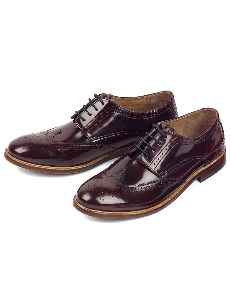 s breta brogue shoe in burgundy from crew clothing