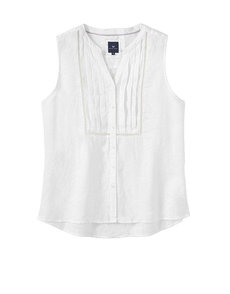 Women 39 S Sleeveless Linen Shirt In Optic White From Crew