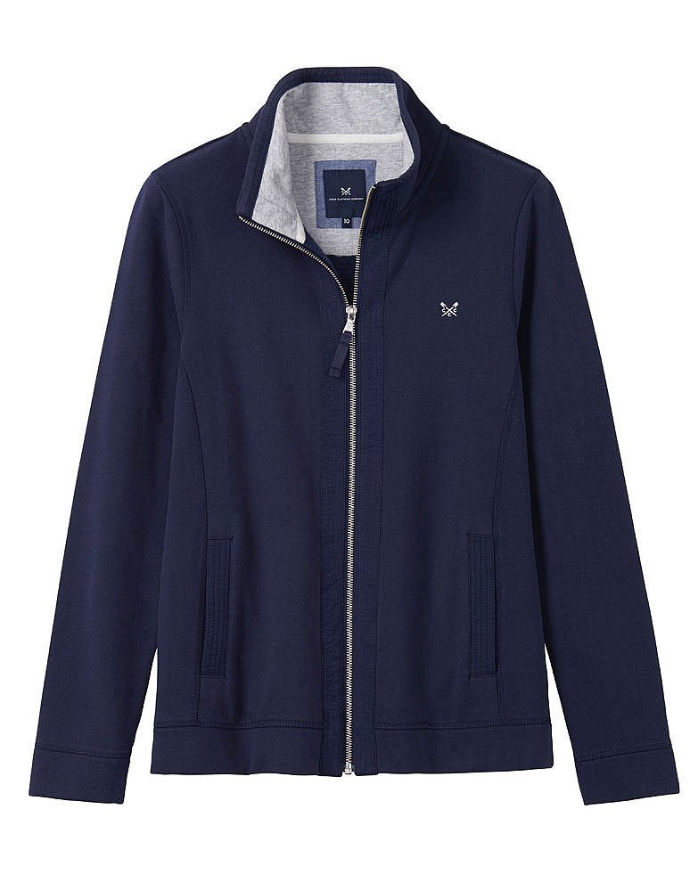 Women 39 s zip thru funnel neck in navy from crew clothing for How to not sweat through a shirt