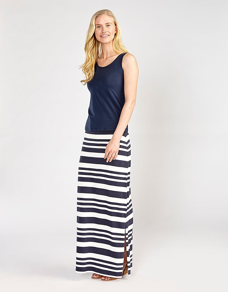 Women's Jersey Maxi Skirt in Navy/White Linen Stripe from Crew ...