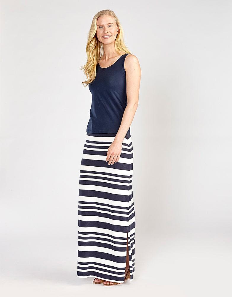b61234d15 Women's Jersey Maxi Skirt in Navy/White Linen Stripe from Crew Clothing