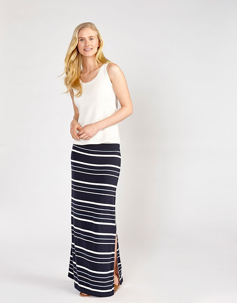 Women's Jersey Maxi Skirt in Navy/Riviera Blue/White Stripe from ...