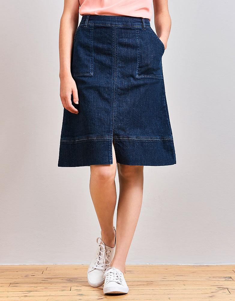 s denim skirt in mid indigo from crew clothing