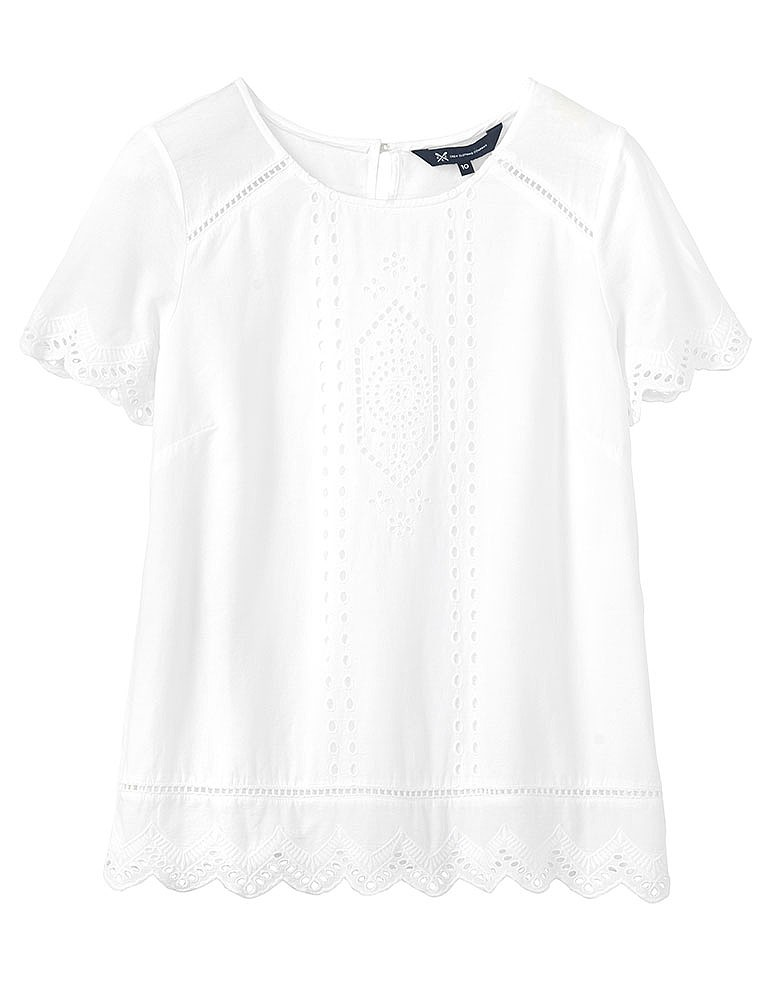 a9fa3bb5de01 Women s Broderie Front Top in Optic White from Crew Clothing