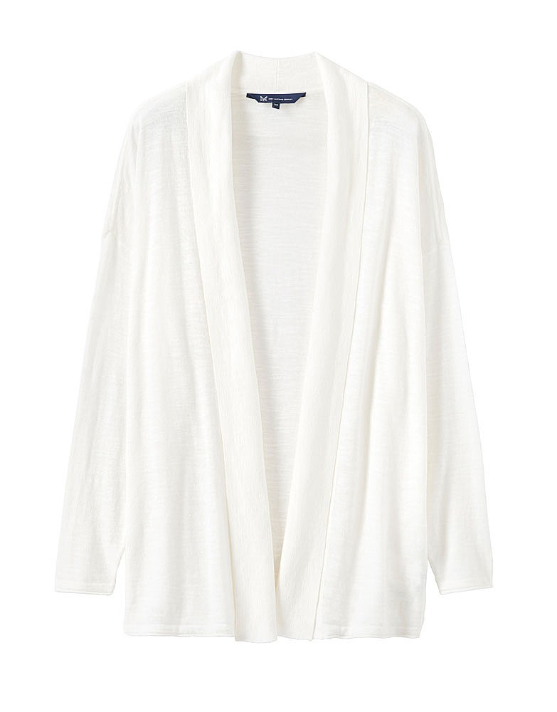 s cotton slub cardigan in white linen from crew clothing