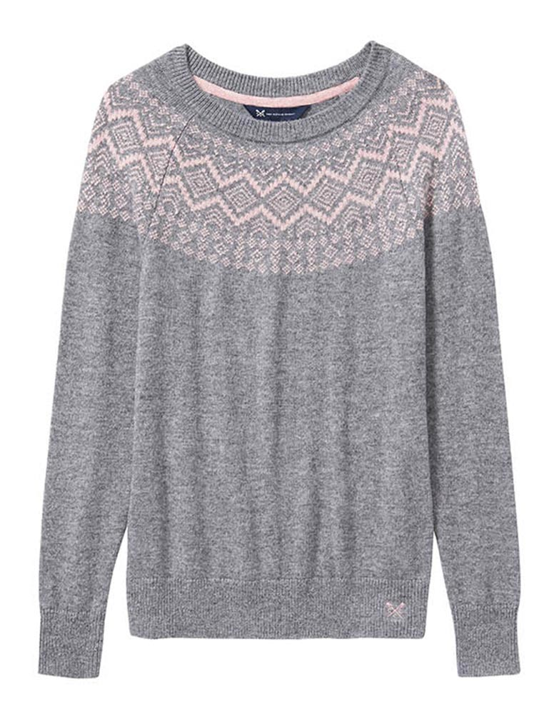 Women's Fairisle Jumper in Folkstone Grey/Pale Rose from Crew Clothing
