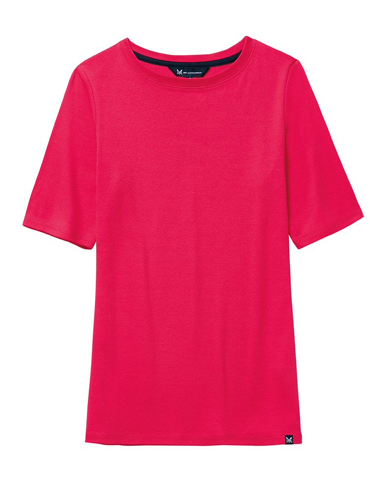 Women 39 s boat neck tee in bright claret red from crew clothing for Boat neck t shirt women s