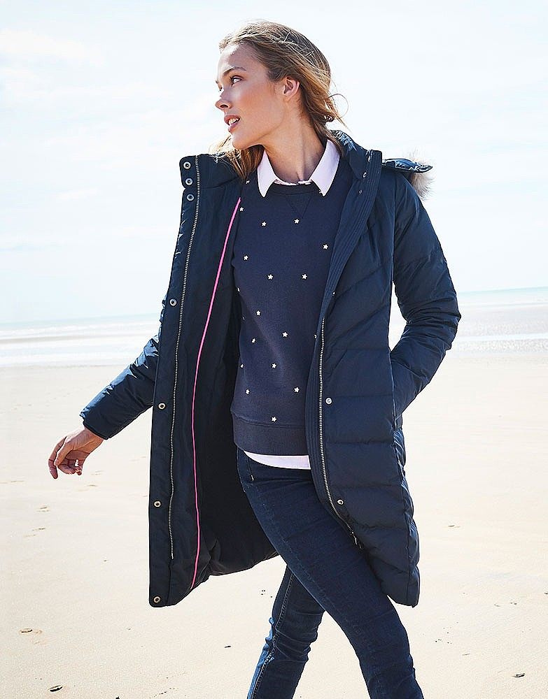 Women s Down Coat in Dark Navy from Crew Clothing 44006d6e81da