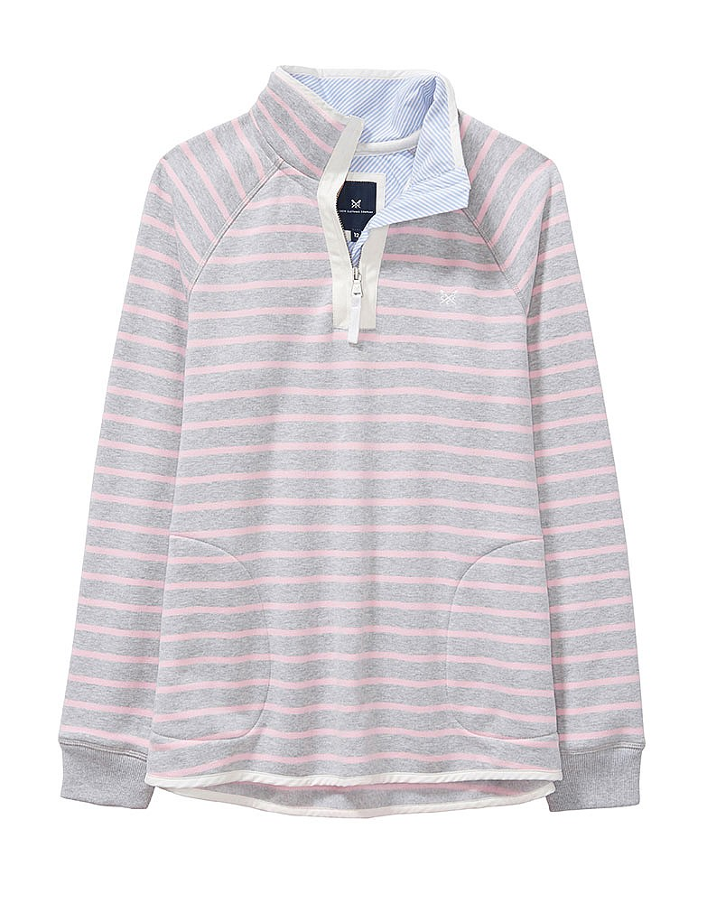 dd8268af228 Women s Half Zip Sweatshirt in Grey Marl Pink Stripe from Crew Clothing