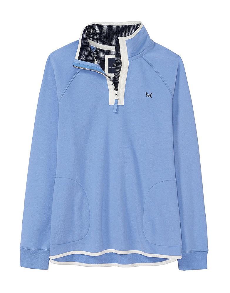 eaf5daa95800c6 Women s Half Zip Sweatshirt in Light Indigo Blue from Crew Clothing