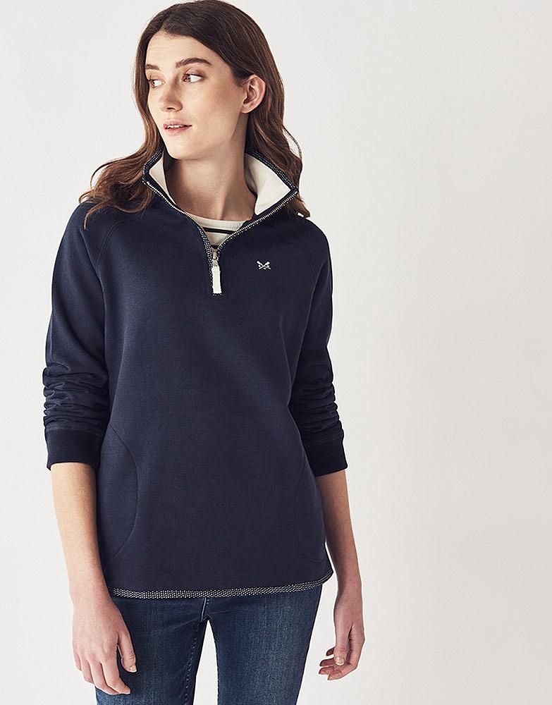 Women S Half Zip Sweatshirt In Navy From Crew Clothing