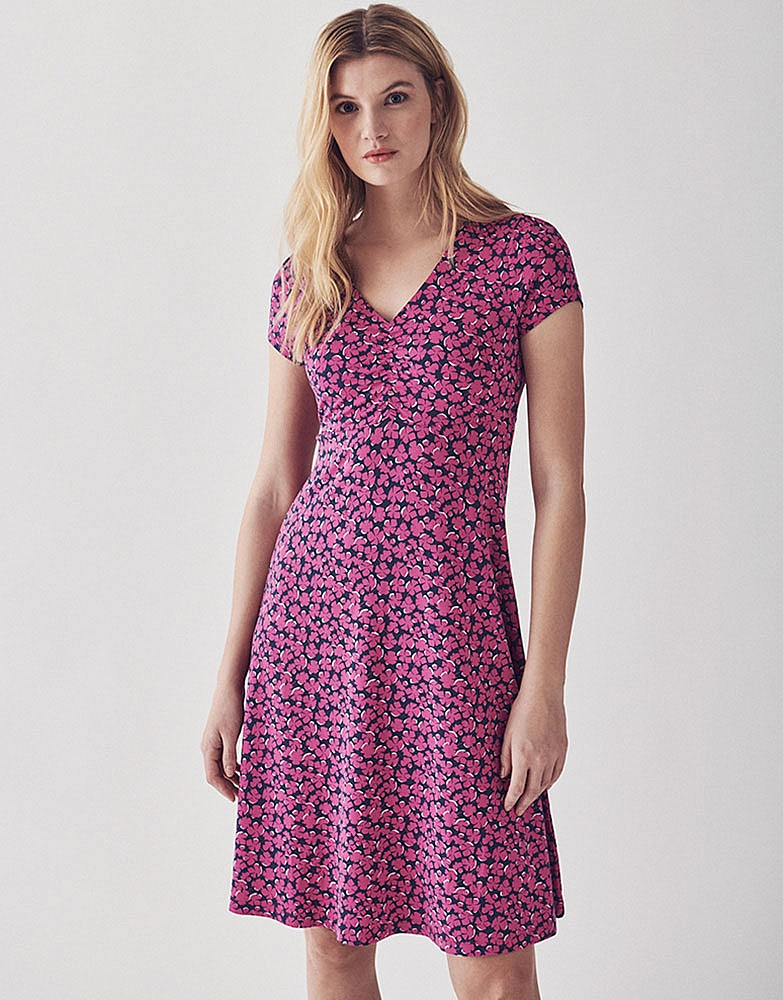 Women s Woven Tea Dress in Navy Pink from Crew Clothing fb4678cff