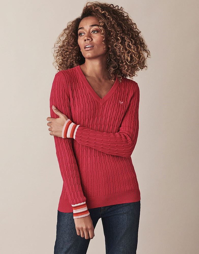Heritage Tipped Cable V Neck Jumper