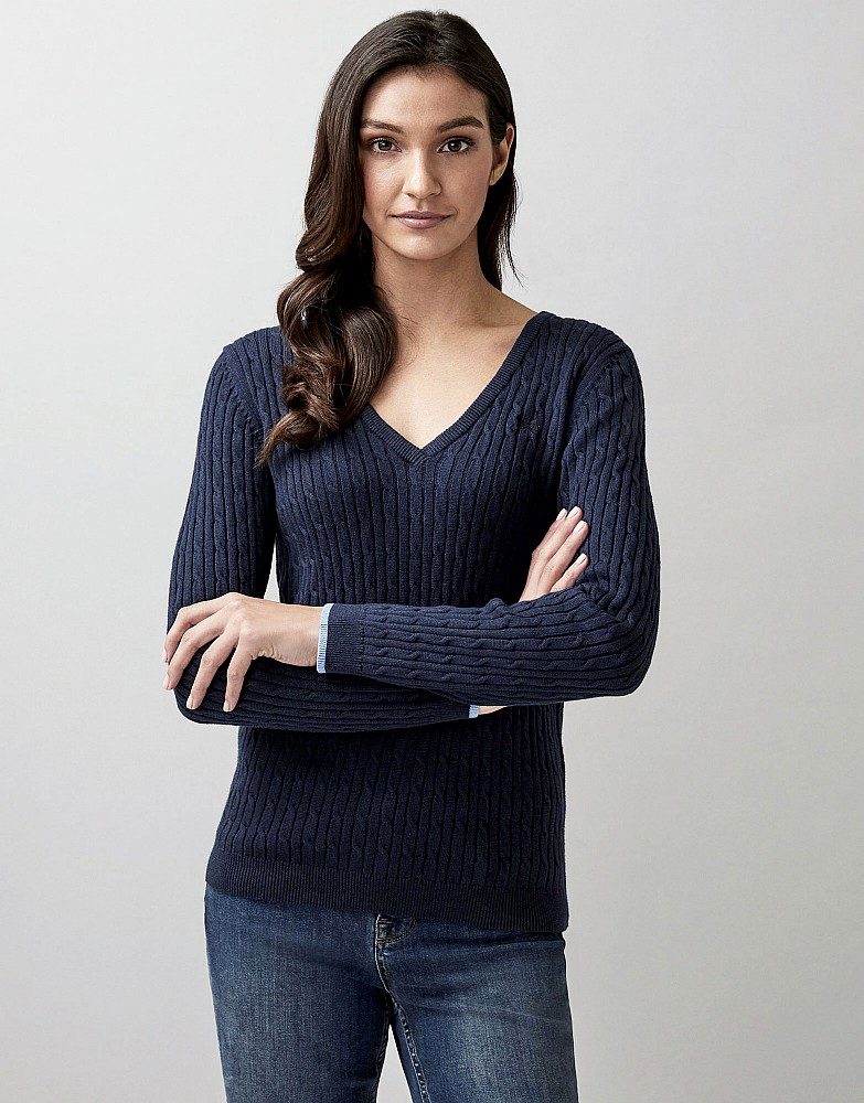 Heritage V Neck Cable Jumper