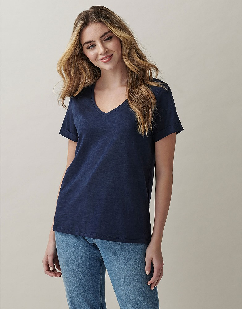 Perfect V Neck Slub T-Shirt