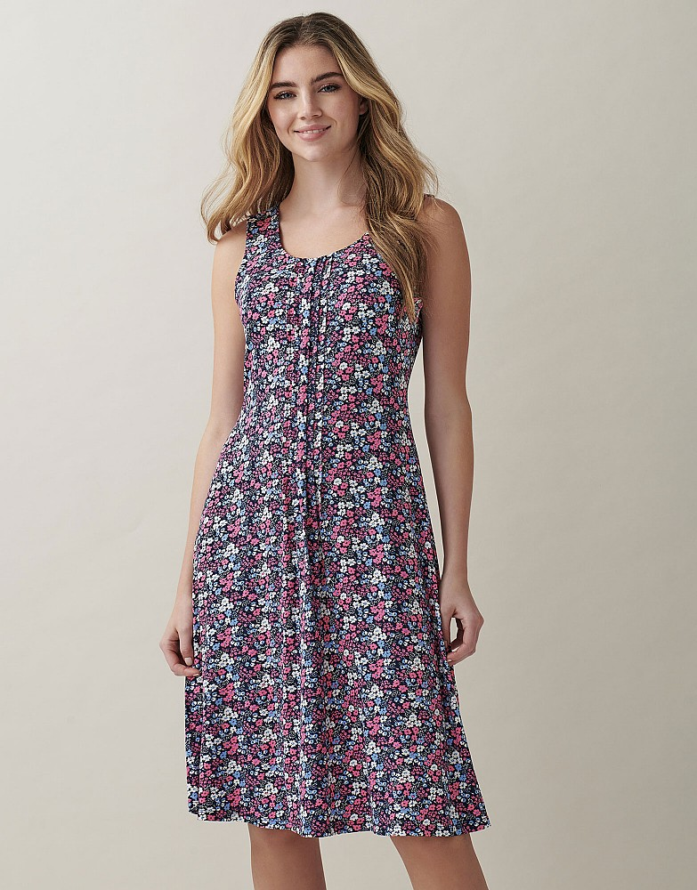 Sleeveless Pleat Front Jersey Tea Dress