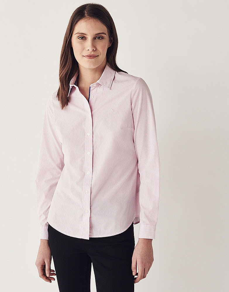 Women 39 s heritage classic striped shirt in classic pink for Pink and purple striped rugby shirt