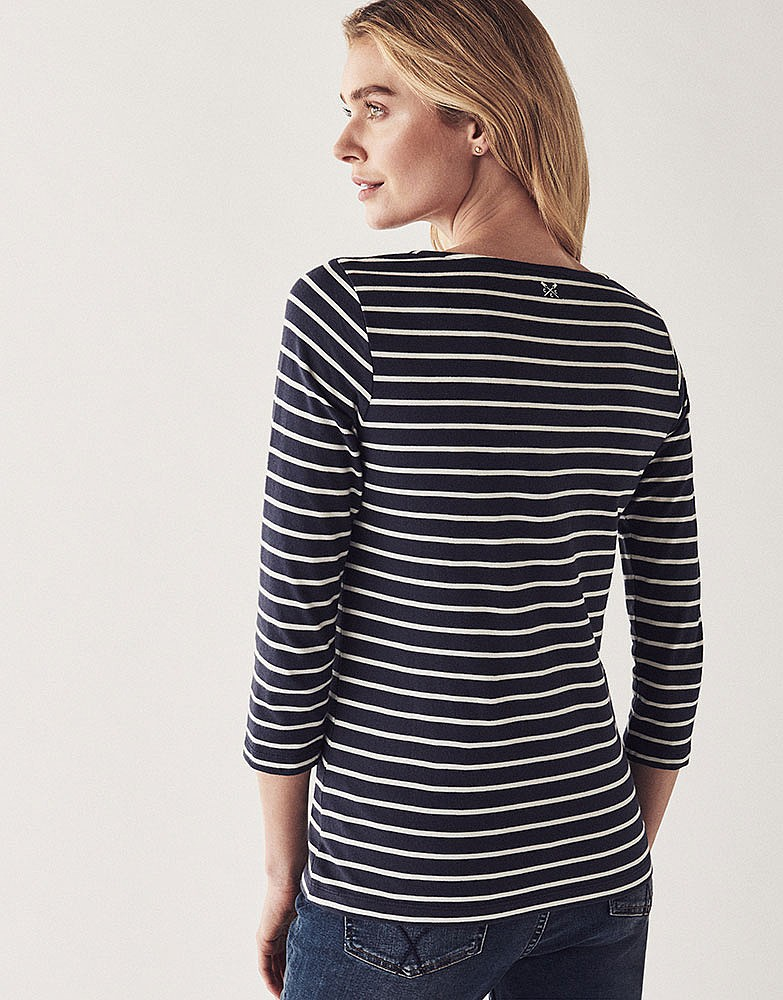 418dc71daab Women s Essential Breton Top in Navy White Linen Stripe from Crew Clothing