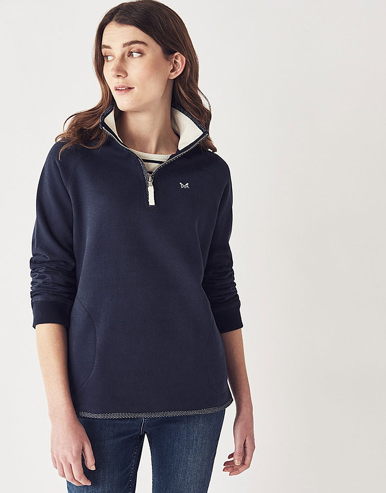 Womenu0026#39;s Half Zip Sweatshirt in Navy from Crew Clothing