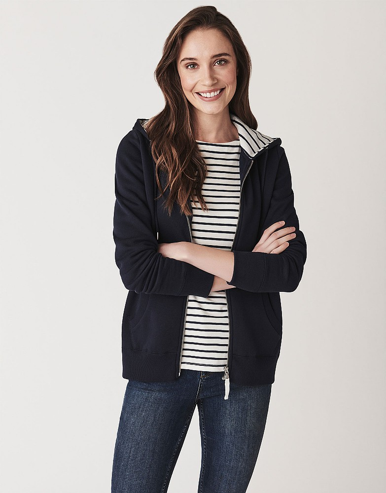 Womenu0026#39;s Zip Through Hoody in Navy from Crew Clothing