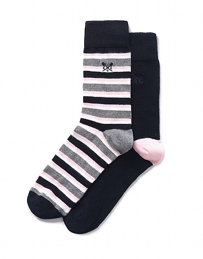 2 Pack Tri-Stripe Bamboo Socks