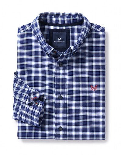 Bridford Classic Fit Check Shirt in Navy