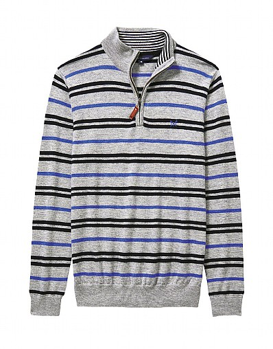Stripe Merino Half Zip Knit