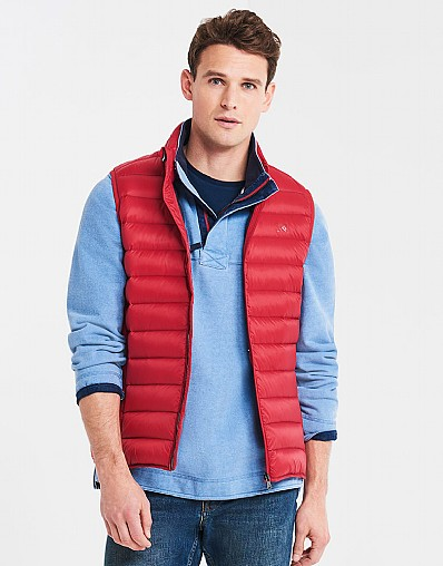 Lightweight Down Gilet In Classic Red
