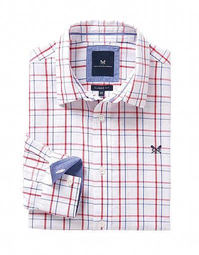 Millom Classic Fit Check Shirt in White
