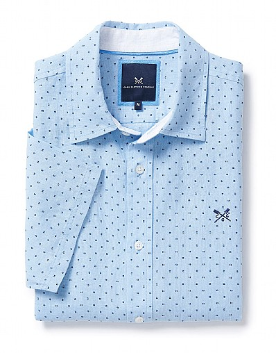 Herne Short Sleeve Linen Shirt In Classic Blue