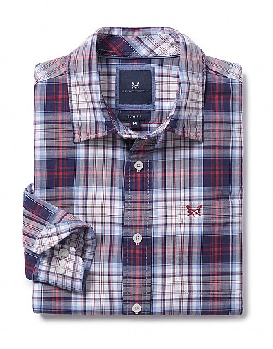 Towan Slim Fit Check Shirt in Navy