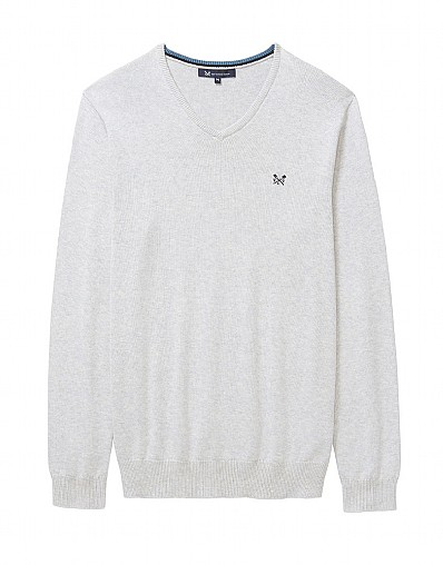 Foxley V Neck Jumper In Ice Grey Marl