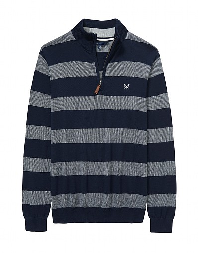 Oxford Stripe Half Zip Knit