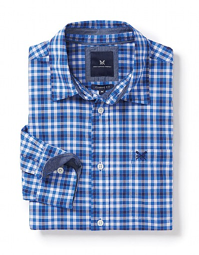 Westleigh Classic Fit Check Shirt in Lapis Blue