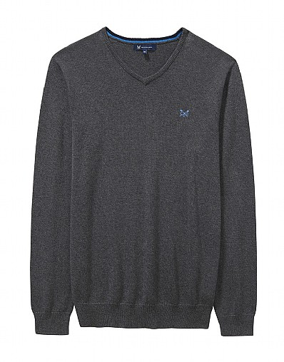 Foxley V Neck Jumper in Charcoal Grey Marl
