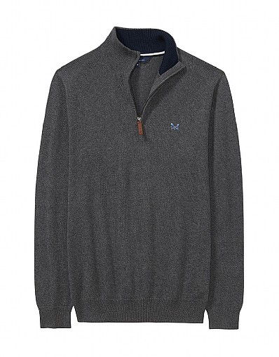 Classic Half Zip Knit in Charcoal Grey Marl