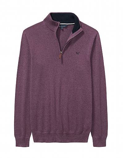 Classic Half Zip Knit in Washed Plum Marl