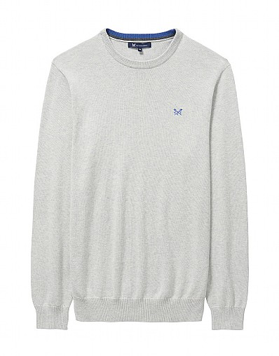 Foxley Crew Neck Jumper in Ice Grey Marl