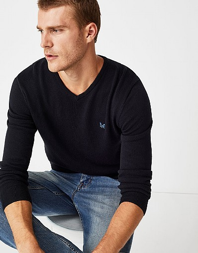 Foxley V Neck Jumper in Black