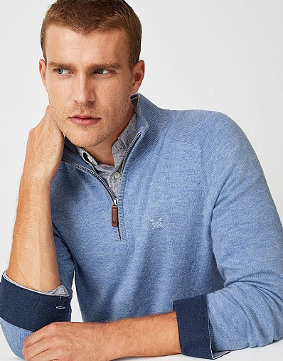 Wool Half Zip Jumper in Blue Marl