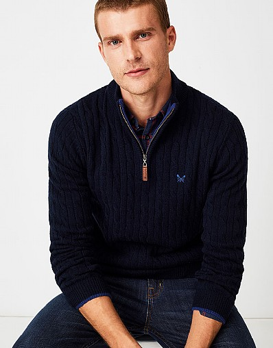 Lambswool Half Zip Jumper in Dark Navy