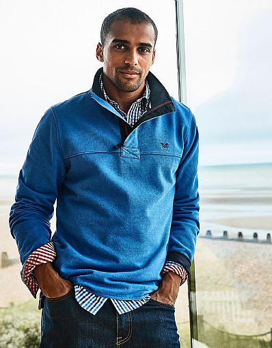 Padstow Pique Sweatshirt in Lapis Blue
