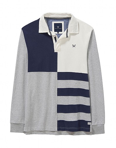 Quarter Rugby Shirt in Mid Grey Marl