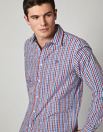 Crew Classic Fit Gingham Shirt in Red Blue