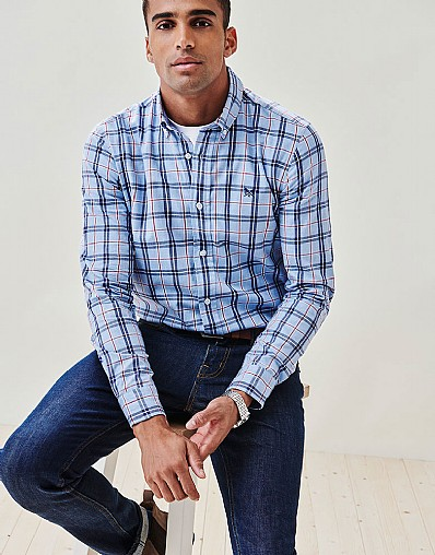 Anderby Check Slim Fit Shirt in Blue Marl Red Check
