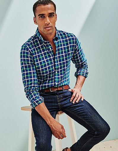 Anderby Check Slim Fit Shirt in Bright Navy Check