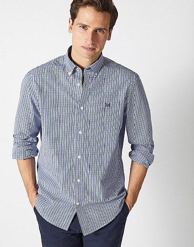 Tattershall Check Classic Fit Shirt in Cove Blue